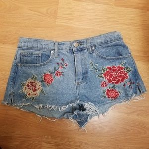 Embroidered High Waisted Jean Shorts